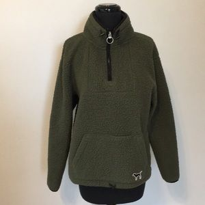 VS PINK Olive Green Sherpa Pullover, S